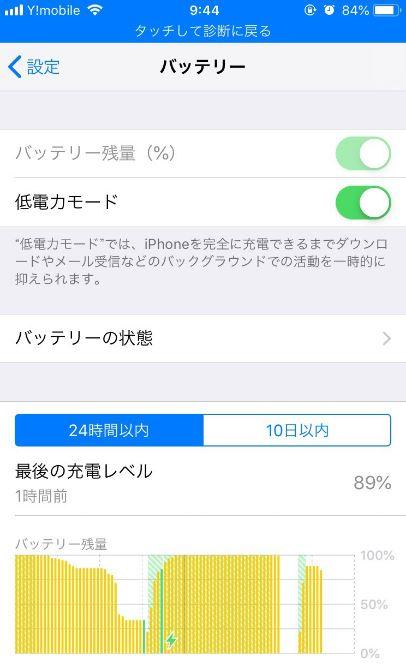 アイフォンバッテリー状況